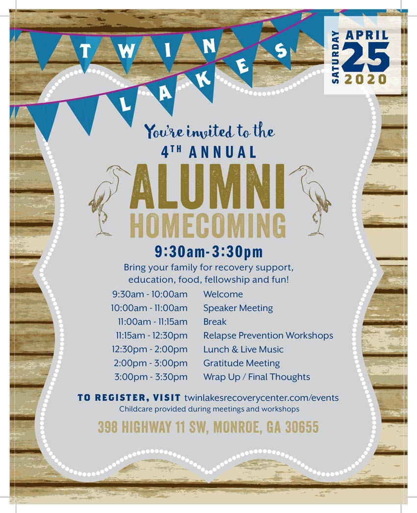 4th annual alumni gathering at twin lakes recovery center, April 25, 2020 at 9:30 am