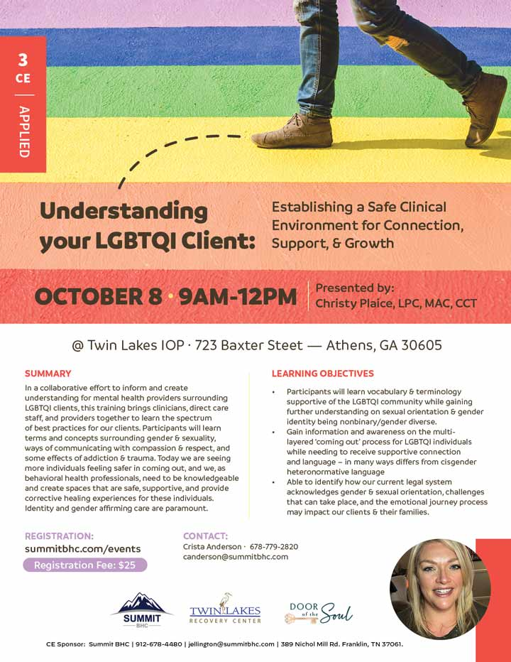 Understanding Your LGBTQI Client - October 8, 2021 - Twin Lakes Recovery Center